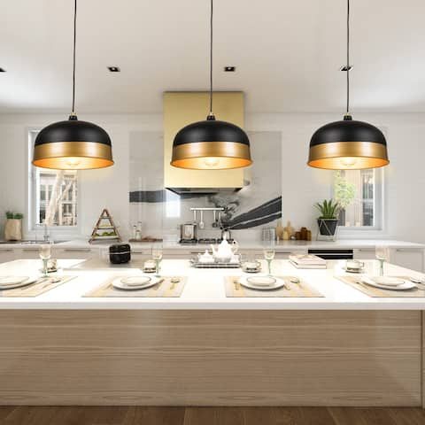 3 - Pieces Ciaran Industrial Hanging Pendant Lights - 7 x 11.8 x 74.8 inches