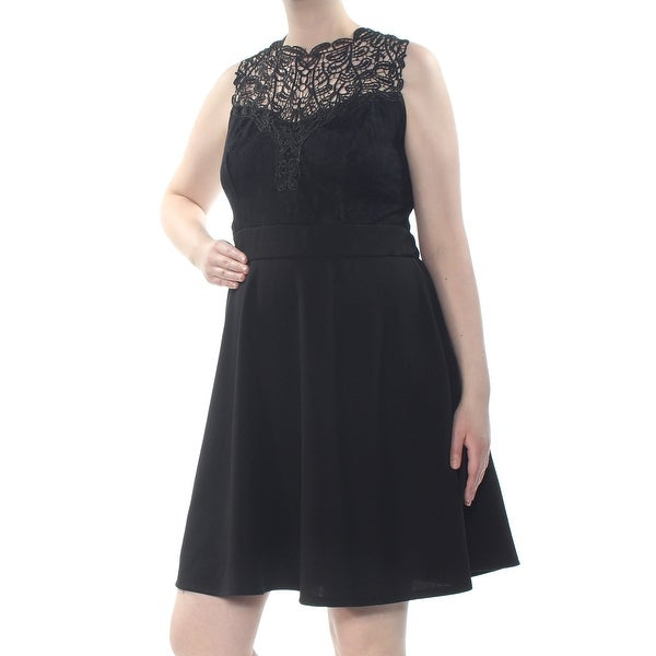 LOVE SQUARED Womens Black Lace Textured Sleeveless Above The Knee Party Dress Plus Size: 3X