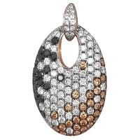 Prism Jewel 1.89Ct Multi Color Diamond & Diamond Designer Pendant - Black/Brown/White G-H