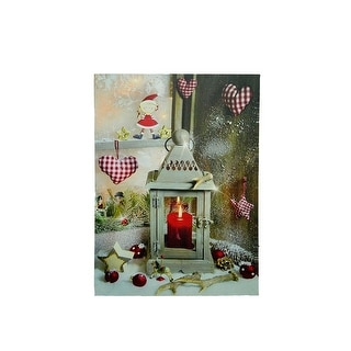 "LED Lighted Cozy Country Lantern Christmas Canvas Wall Art 11.75"" x 12"""