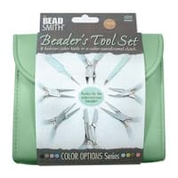 Beadsmith 8 Piece Plier & Tweezer Set Aqua Green Jeweler's Tool Kit With Travel Case