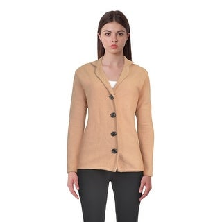 Kasper Four Button Boiled Wool Long Sleeve Sweater Jacket