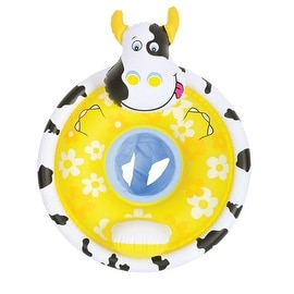 "31.5"" Black White and Yellow Cow Children's Inflatable Swimming Pool Baby Seat Float"