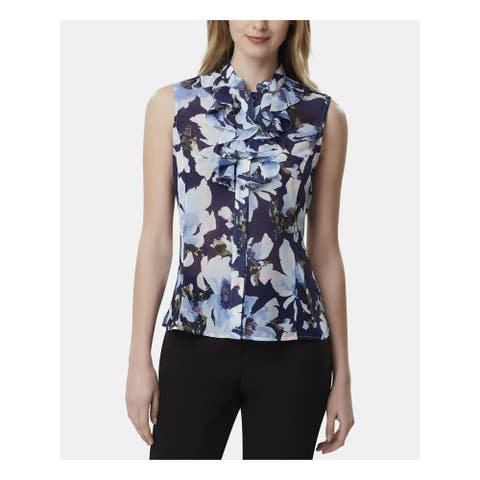 TAHARI Womens Navy Floral Sleeveless V Neck Wear to Work Top Size XL