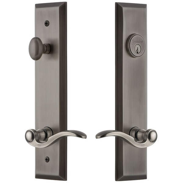 Grandeur FAVBEL_TP_ESET_238_RH Fifth Avenue Solid Brass Tall Plate Single Cylinder Keyed Entry Set with Bellagio Lever and