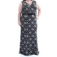 BETSEY JOHNSON Womens Black Printed Sleeveless V Neck FullLength Formal Dress Plus  Size: 22W