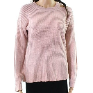 RDI Pink Womens Size XL Knitted Cutout-Shoulder Pullover Sweater