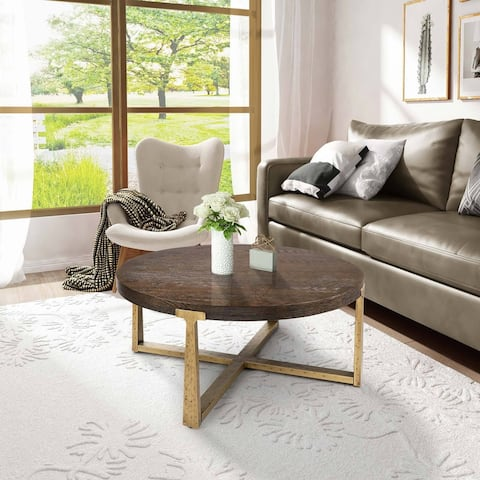 """Modern Wood 36'' Round Coffee Table Handcrafted with Gold Hammered Frame for Living Room - D36""""X H17"""""""