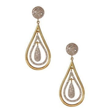 Pave Diamond Tear Drop Sterling Silver Earring with Gold Plated Rhodium
