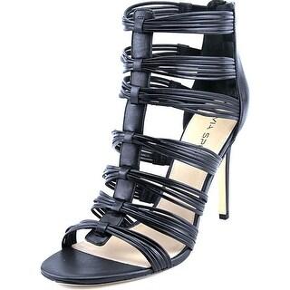 Via Spiga Terelle Open-Toe Leather Heels