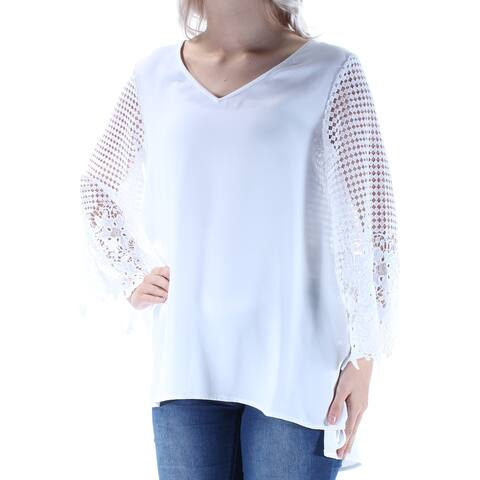 ALFANI Womens White Embroidered Lace Kimono Sleeve V Neck Hi-Lo Top Size: 6
