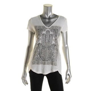 Lucky Brand Womens Embroidered V-Neck Graphic Tee