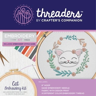 "Crafter's Companion Threaders Embroidery Kit 6""X6""-Cat"