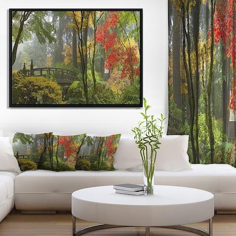 Designart 'Japanese Wooden Bridge in Fall' Photography Framed Canvas Art Print