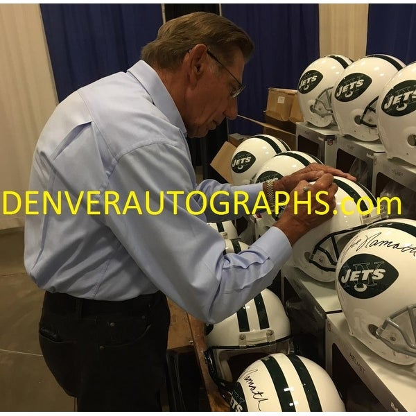 wholesale dealer 5832d 1934a Joe Namath Autographed New York Jets Proline Helmet Green Mask JSA