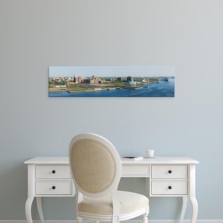Easy Art Prints Panoramic Image 'Buildings, Adventure Aquarium, Delaware River, Camden County, New Jersey' Canvas Art