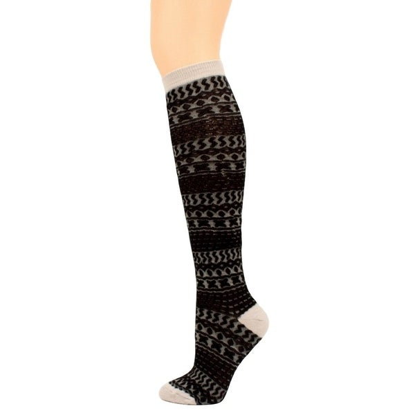 Blazin Roxx Socks Womens Fashion Knee High Striped Black Gray - L