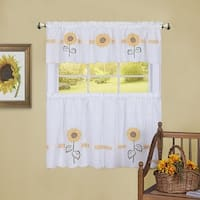 Sun Blossoms Embellished Kitchen Curtain Tier and Valance Set, 56x36 & 58x14 Inches