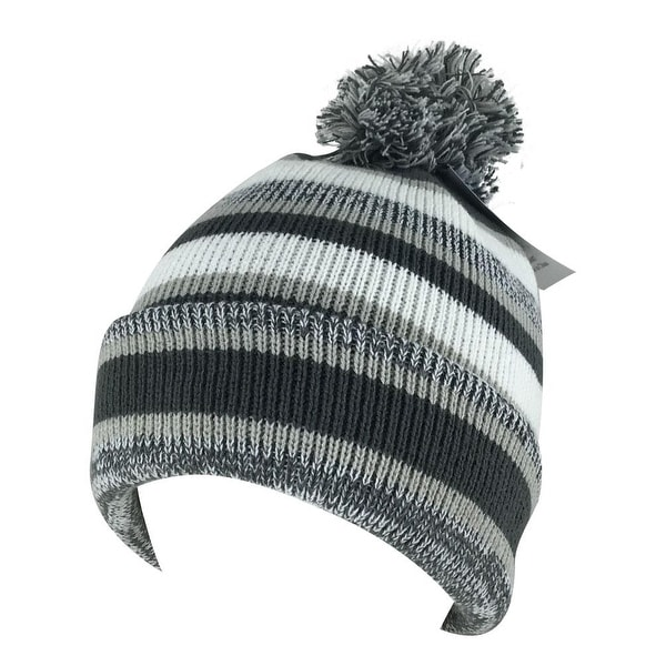 c9d9b665812 Shop Mens Women 3552V Stripe Cuff Knit Pom Beanie Hat - Charcoal Grey White  - Free Shipping On Orders Over  45 - Overstock - 18616083