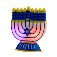 """6"""" Battery Operated Color Changing LED Chanukah Hanukkah Window Decoration - Blue"""