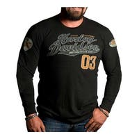 Harley-Davidson Men's Superior Script Premium Long Sleeve Shirt, Black