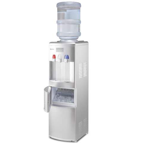Costway Top Loading Water Dispenser W/ Built-In Ice Maker Machine Hot Cold Room Water - as pic