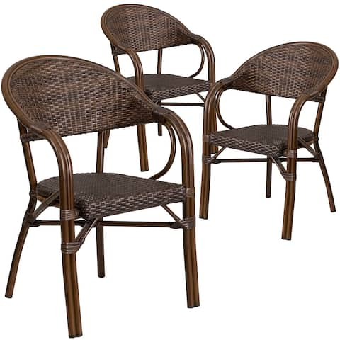 3 Pack Rattan Restaurant Patio Chair with Bamboo-Aluminum Frame