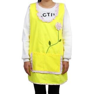 Kitchen Polyester Dot Pattern Rose Decor Cooking Baking Apron Bib Dress Yellow