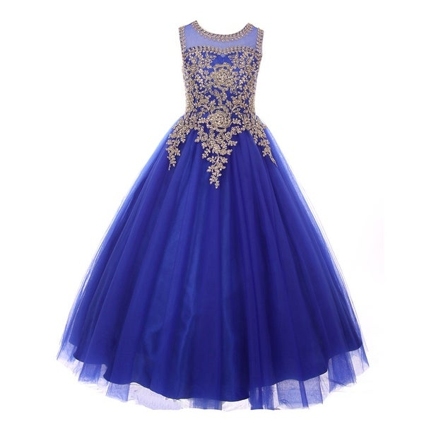 5dff8482 Shop Girls Royal Blue Gold Rhinestone Cording Tulle Junior Bridesmaid Dress  - Free Shipping Today - Overstock - 18161814