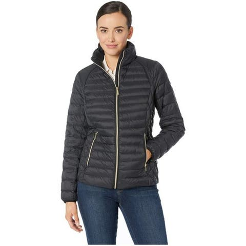 Michael Kors Black Down Quilted Packable Coat Jacket