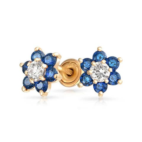Tiny London Blue CZ Flower Stud Earrings For Women For Teen Cubic Zirconia Imitation Sapphire 14K Real Gold Screwback