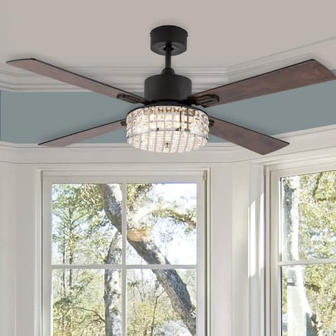 "Yala River of Goods 52-inch LED Integrated Ceiling Fan With Light - 52"" x 52"" x 13.25/""18.25"""