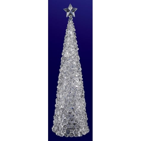 """Pack of 2 Icy Crystal Illuminated Christmas Ice Cube Tree Figurines 17"""" - CLEAR"""