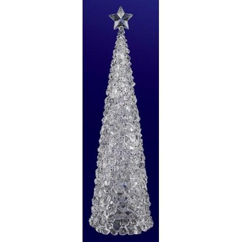 "Pack of 2 Icy Crystal Illuminated Christmas Ice Cube Tree Figurines 17"""