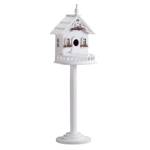 Freestanding Victorian Birdhouse - White
