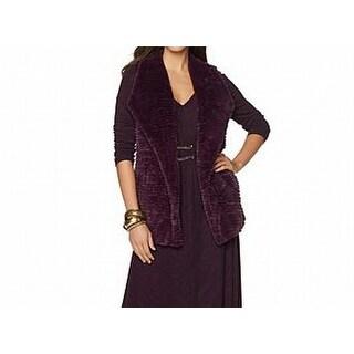 Liz Lange NEW Plum Purple Womens Size Small S Faux-Fur Vest Sweater