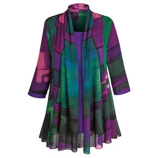 Women's Tunic Jacket - Purple Paradise Open Front Cardigan And Top (More options available)
