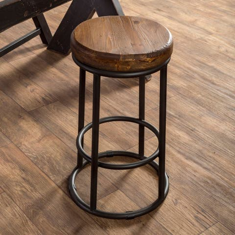 Carbon Loft Horseshoe Reclaimed Wood and Iron Stool