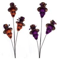 "Set of 6 Orange and Purple Halloween Themed Skull Sprays 31.5"""