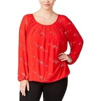 NY Collection Womens Plus Pullover Top Embellished Long Sleeves
