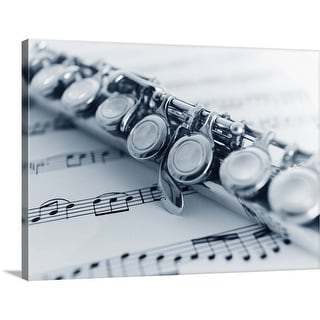 """""""Flute detail with music sheet."""" Canvas Wall Art"""