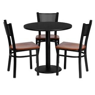 "Dyersburg 4pcs Table Set Round 30"" Black Laminate, Cherry Metal/Wood Chair"