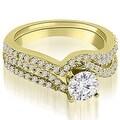 1.03 cttw. 14K Yellow Gold Twisted Split Shank Round Cut Diamond Bridal Set - Thumbnail 0