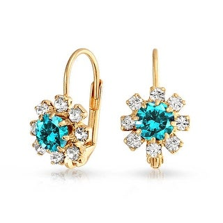 Bling Jewelry Imitation Aquamarine Flower Leverback Earrings Gold Filled - Blue