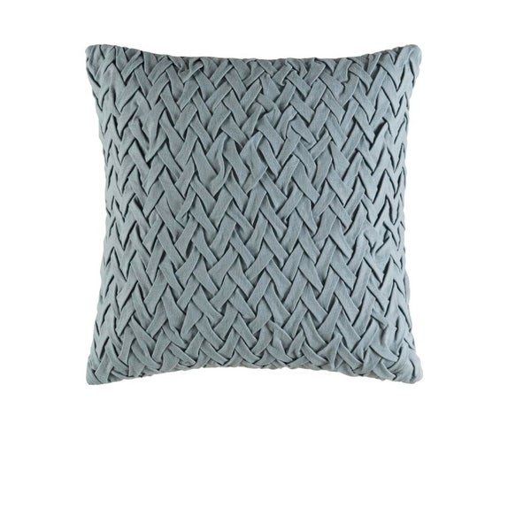 "18"" Rainy Day Gray Woven Decorative Square Throw Pillow - Down Filler"