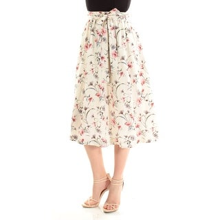 J.O.A. $95 Womens New 1274 Ivory Floral Midi A-Line Casual Skirt S B+B