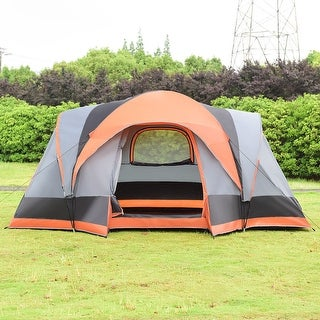 Gymax Portable 8 Person Family Tent Easy Set-up Camping Hiking W/ Bag - orange and gray