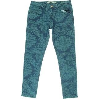 Zara Trafaluc Womens Floral Print Mid-Rise Boyfriend Jeans