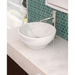 "DecoLav 1441 Classically Redefined 15-5/8"" Round Vitreous China Vessel Lavatory Sink with Overflow - ceramic white"
