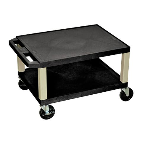 "OF-WT16B-P - Offex 16"" Two Shelves AV Cart - Putty Legs, Black - 24""W x 18""D x 16""H"